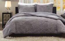 3 Pc Sculpted Comforter Set w/ 2 Standard Shams ~ Dove Gray ~ Queen 90 x 90 New