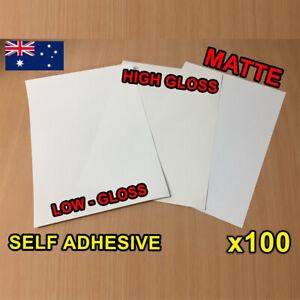 x100 Matte / Glossy A4 Self Adhesive Print Sticker Paper Sheet Laser Inkjet