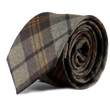 Luxury Gentlemens Brown Country Checked Skinny Tie Tweed Woven Wool Style Tartan