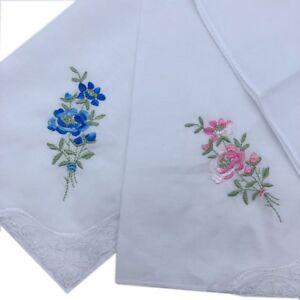 Ladies 100% Cotton Embroidering Lace Handkerchiefs 28CM X 28CM Bulk Deal