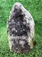 "5"" Amethyst Cluster Geode Crystal Quartz Natural Stone"