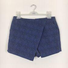 Topshop Blue Dot Pattern Wrap Over Shorts / Skort Size 14 - (B3)