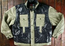 RARE VTG 90s DIESEL COW LEATHER & DUCK FEATHER DOWN PUFFER JACKET RETRO L/XL