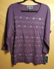 Karen Scott NEW Scoop Neck Knit Top Purple Silver Embellished Ladies 1X