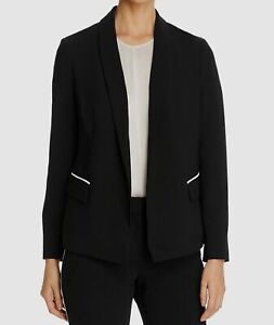 $160 Tahari Women's Black Shawl-Collar Piped Flap Pocket Blazer Jacket Size 12