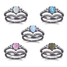 Black Gold Finish Petite Opal Pear Engagement Wedding Chevron Silver Ring Set