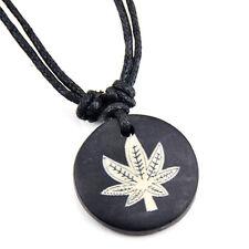 Tibetan style yak bone Marijuana leaves pendant necklace RH269