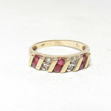 Estate 14K Yellow Gold 6 Natural Red Ruby And Diamond Band Style Ring 0.45 Cts