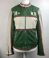Diesel Leather L-Racing Jacket Wolf Rule Green Red White Size Large Goat Leather