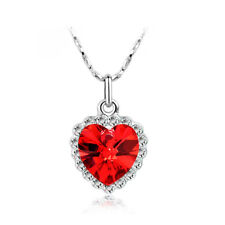 Pretty crystal jewel heart pendant necklace with diamantes bridal bridesmaids