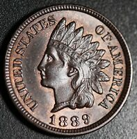 1889 INDIAN HEAD CENT - AU BU UNC - With A TOUCH OF MINT LUSTER!