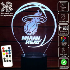 MIAMI HEAT BASKETBALL LOGO 3D LED TABLE NIGHT LIGHT LAMP 7 COLOUR REMOTE
