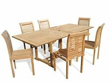 """Windsor's Premium Grade A Teak 82""""x 39"""" Rect Extension Table w/6 Stacking Chairs"""