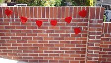 HANDMADE CROCHET RED HEART BUNTING WITH 6 HEARTS