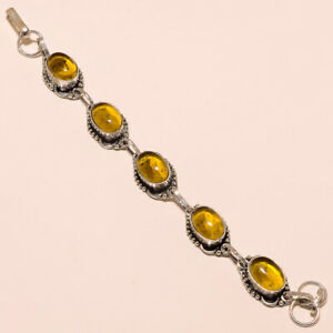 Citrine Topaz Bracelet Silver Plated Gemstone Bracelet Fashion Jewelry