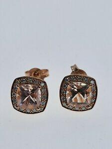 9ct Rose Gold Morganite & Diamond  Stud Earrings - Gorgeous