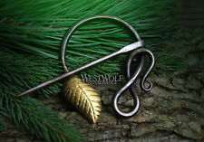 Hand-Forged Curled Steel Medieval Brooch with Gold Leaf --- Dark Age/Nature/Vine