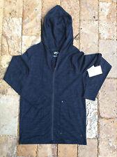 UNCL Men's Gray cotton Athletic Rivet Zip Hoodie Arctic Blue Size Large