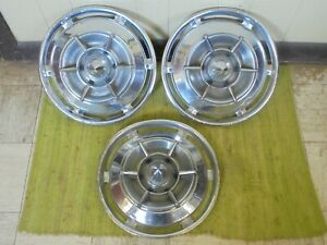 """1961 Buick Spinner HUBCAPS 15"""" Set of 3 Wheel Covers 61 Hub Caps"""