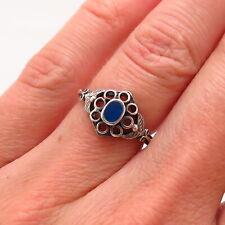 925 Sterling Silver Sodalite Gem Floral Design Pinky Ring Size 4 3/4