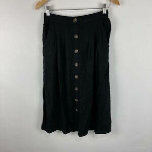 Dotti Womens Skirt Size 10 Black Button Closure Elastic Waist Linen Blend 233.12