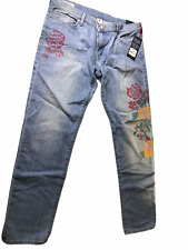True Religion Women's Liv Low-Rise Relaxed Skinny Distressed Printed Jeans NWT