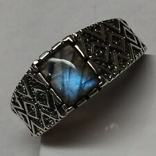 Art Deco Natural Blue Iridescence Labradorite 925 Sterling Silver Men's Ring 9
