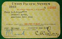 Vintage Union Pacific System Railroad Employee Company Rail Pass 1933