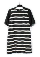 NEW SOSANDAR (UK 14) Black White Stripe Shift Dress Tunic Work Party Occasion