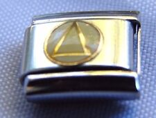 Alcoholics Anonymous AA Symbol Italian Charm Link Stainless Steel Gold Enamel