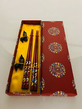 2 PAIRS CHINESE RED CHOPSTICKS IN GIFT BOX WOODEN WOOD JAPANESE THAI