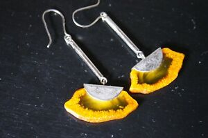 VINTAGE NATURAL BALTIC AMBER SILVER PLATE  DANGLE DROP EARRINGS