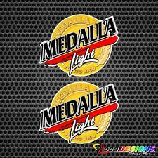 2x PUERTO RICO MEDALLA LIGHT BEER LOGO VINYL CAR STICKERS DECALS
