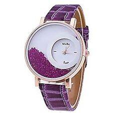 Reloj de cuarzo para mujer, con vidriante y pulcera de poliuretano, color morado