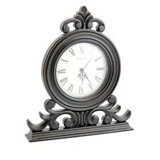 Large Black Shabby Chic Mantel Clock Vintage Style Home Time Display Quartz New