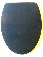 NAVY BLUE FLEECE ELONGATED TOILET SEAT LID COVER