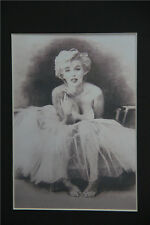Marilyn Monroe Print of Original Drawing 8x10 matted wall decor picture gift art