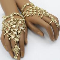 Handschmuck 2 Stück Glöckchen Paar Sklavenarmband Bollywood Bauchtanz Gold