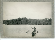 Burma, Natives crossing the river  Vintage silver print. Myanmar Tirage argent