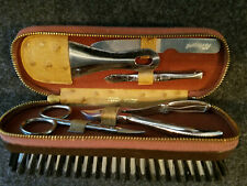 Austrian Man'S Travel Brush And Manicure Set Leather Faux Ostrich Pattern
