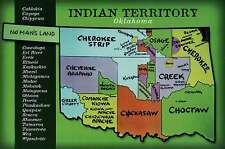 Indian Territory Oklahoma, Native American Lands Cherokee etc State Map Postcard