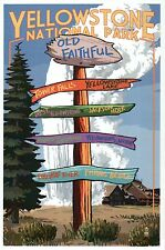 Yellowstone National Park Destination Signpost, Wyoming, OF etc. Modern Postcard