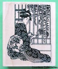 Asian Geisha Lady Girl At Window Flower Garden Background Toad Hall Rubber Stamp