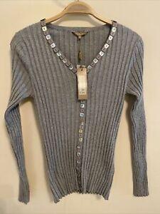 M&co Boutique Gr 12 grau meliert Cardigan gerippt Dekorativ Quadrat Knöpfe NEU (5