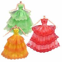 3x Fashion Handmade Dolls Clothes Wedding Party Dress For Dolls Girl P6O9