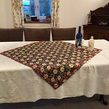 Christmas tablecloth overlay cotton fabric with satin ribbon trim Poinsettia