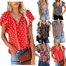 Women Summer V Neck Short Sleeve Casual Floral Print T Shirt Loose Tunic Blouse