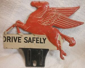 Mobil Pegasus Vintage Antique License Plate Topper Original - Very Nice!!!