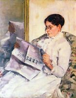 When reading of Figaro by Mary Cassatt Giclee Fine Art Print Repro on Canvas