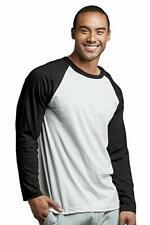 Men's Cotton Raglan Sleeve Baseball Tee Shirt (Black/White, Large Long Sleeve)
